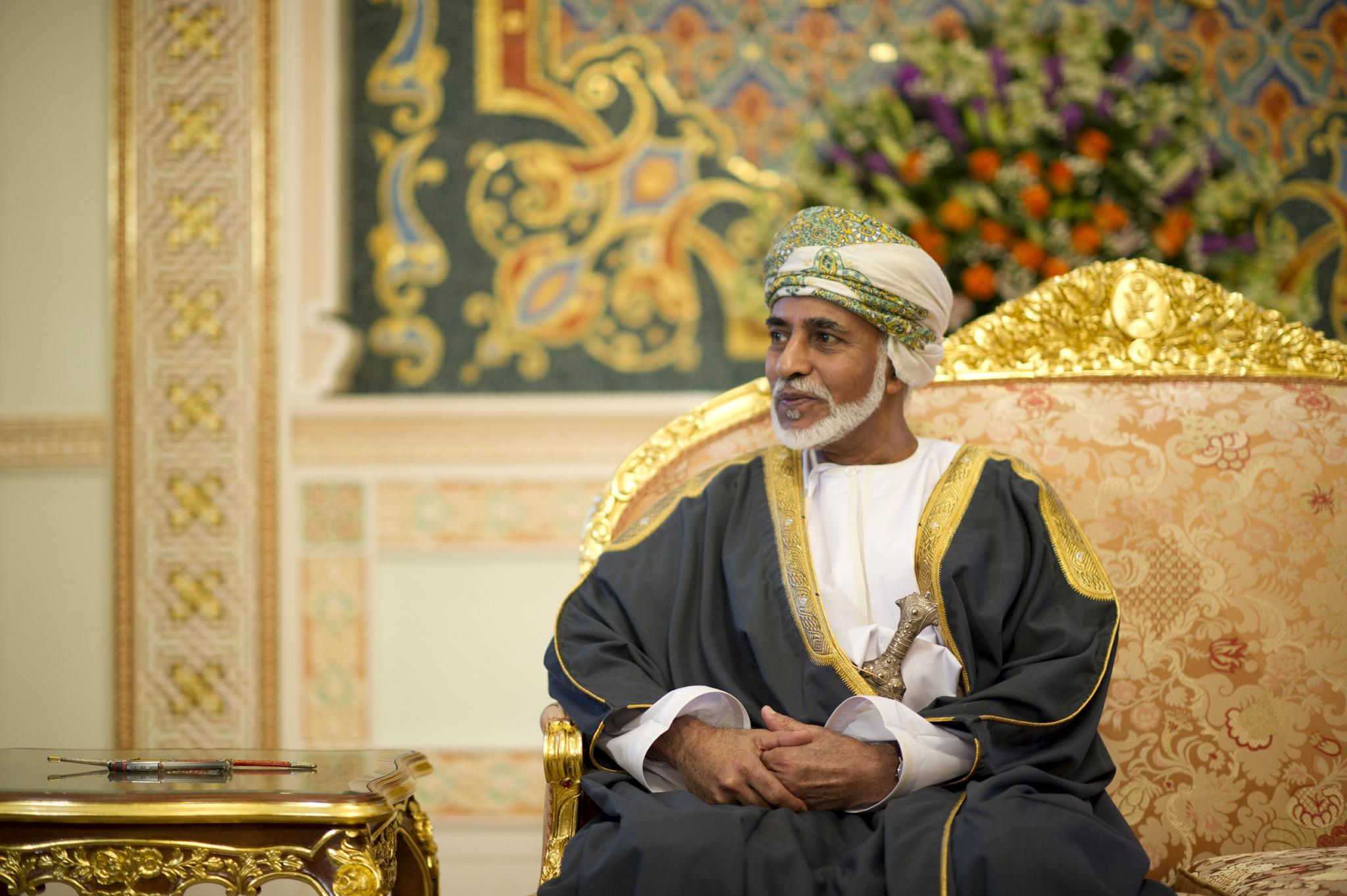 The Sultan of Oman, Qaboos bin Said al Said, sits in his palace in Muscat, Oman on March 25, 2012.