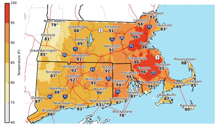 The image shows forecasted temperatures for July 31st in New England.