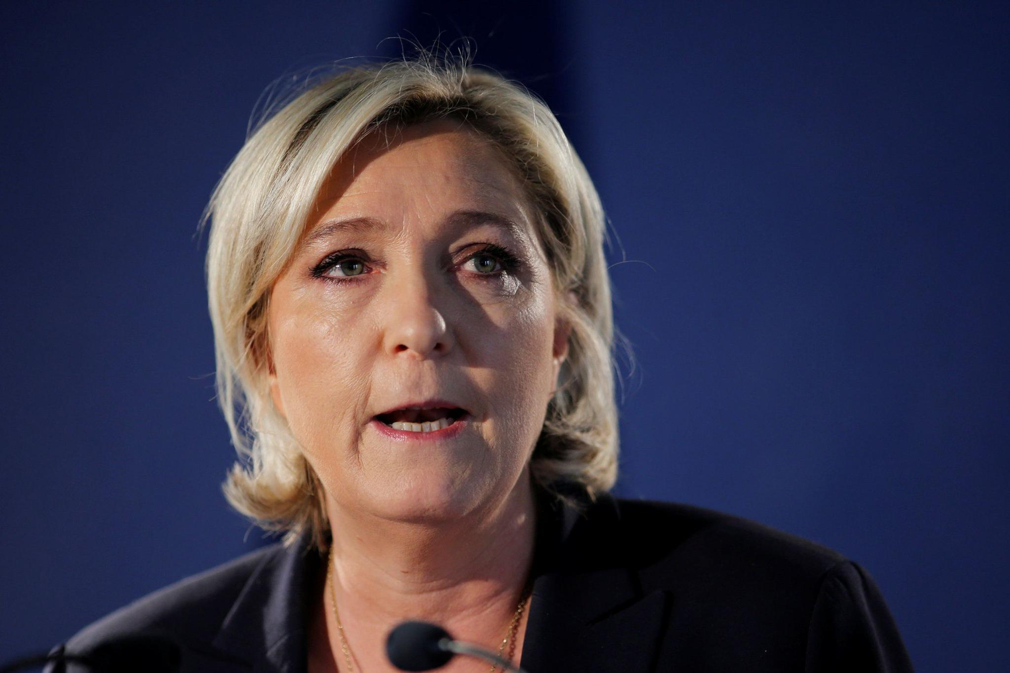 """Marine Le Pen, French National Front candidate for the French 2017 presidential election, attends a news conference in Paris on April 21. Le Pen wants a """"Frexit,"""" but the EU's real threats are further east."""