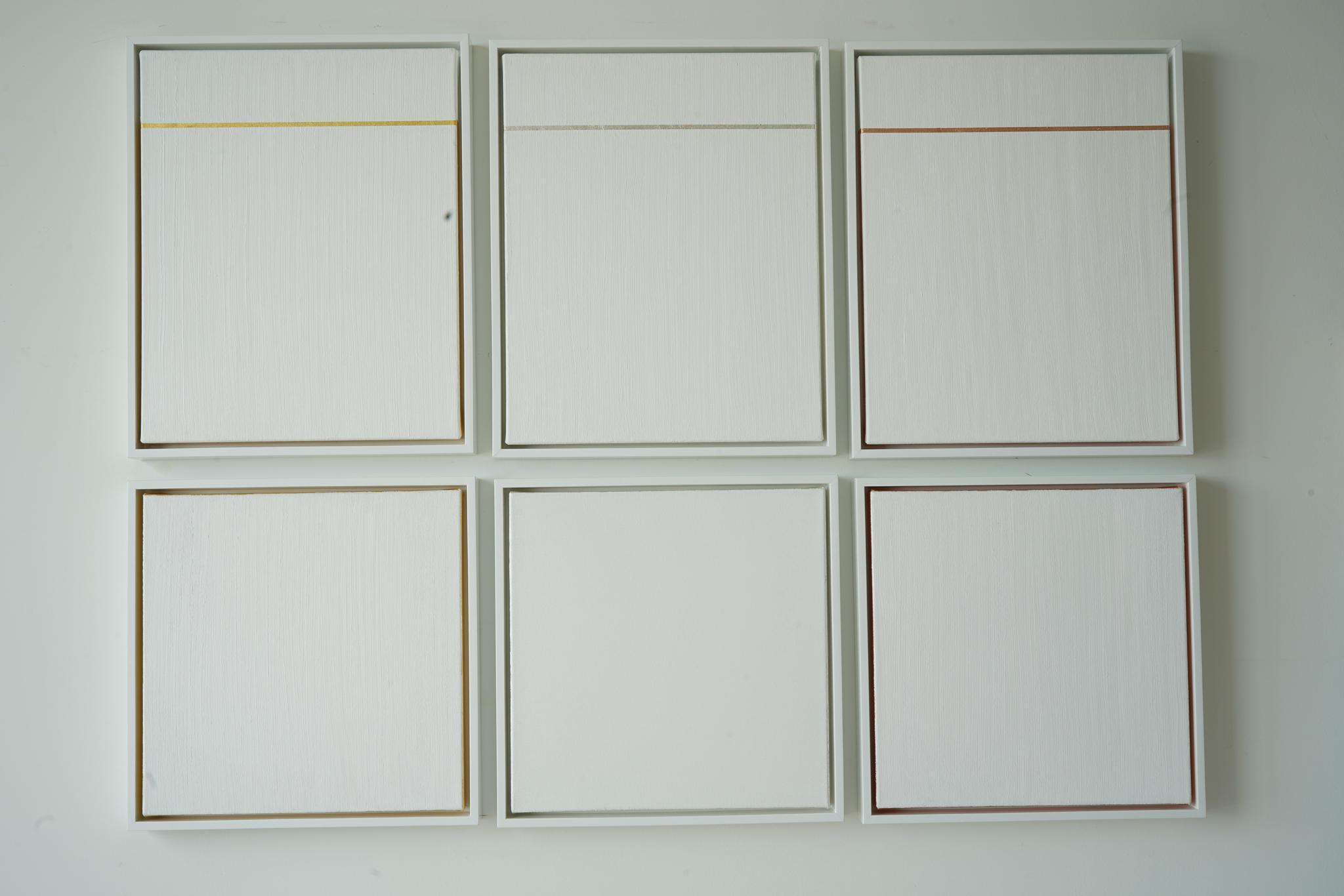 Six 3D squares, Polyptych 40x53.5x2 inch, each 21.4x17.5x2 inch and 17.5 x 17.5 x 2 inch, Gold leaf, copper leaf, silver leaf, Canvas, wood frame, 2019.