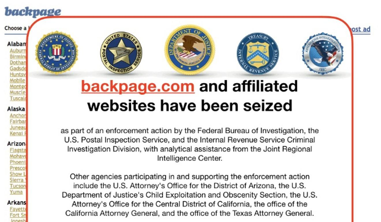The Backpage.com website now shows an FBI notice. Photo: Screenshot