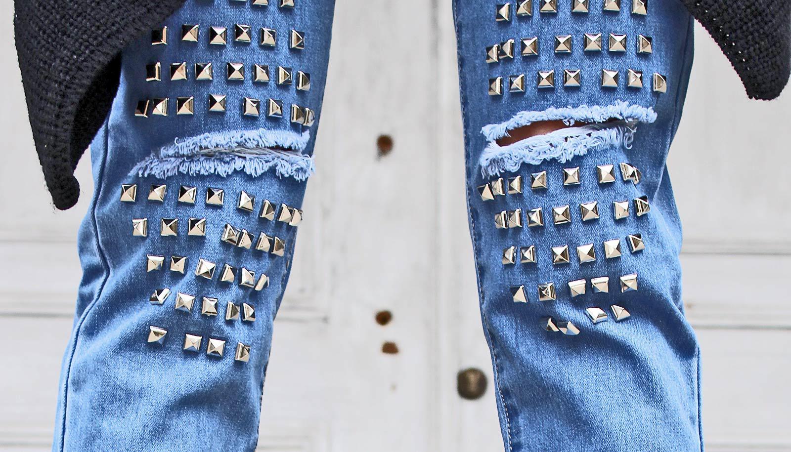 studded jeans on legs - Entamoeba histolytica concept