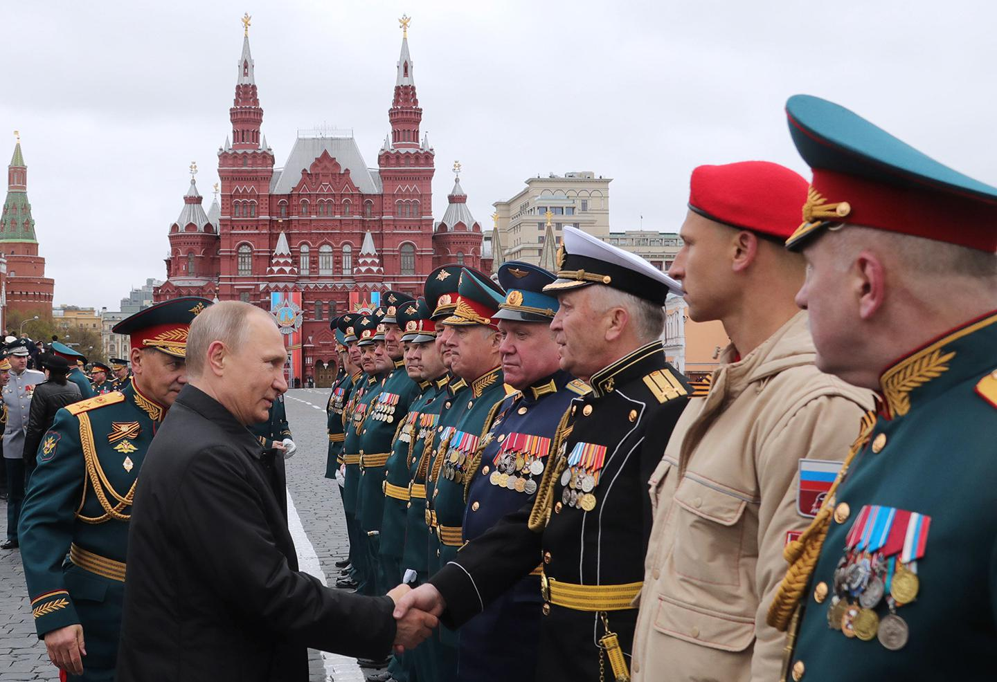 Russia's President Vladimir Putin in Moscow's Red Square after a Victory Day military parade marking the 72nd anniversary of the victory over Nazi Germany in the 1941-1945 Great Patriotic War, the Eastern Front of World War II.