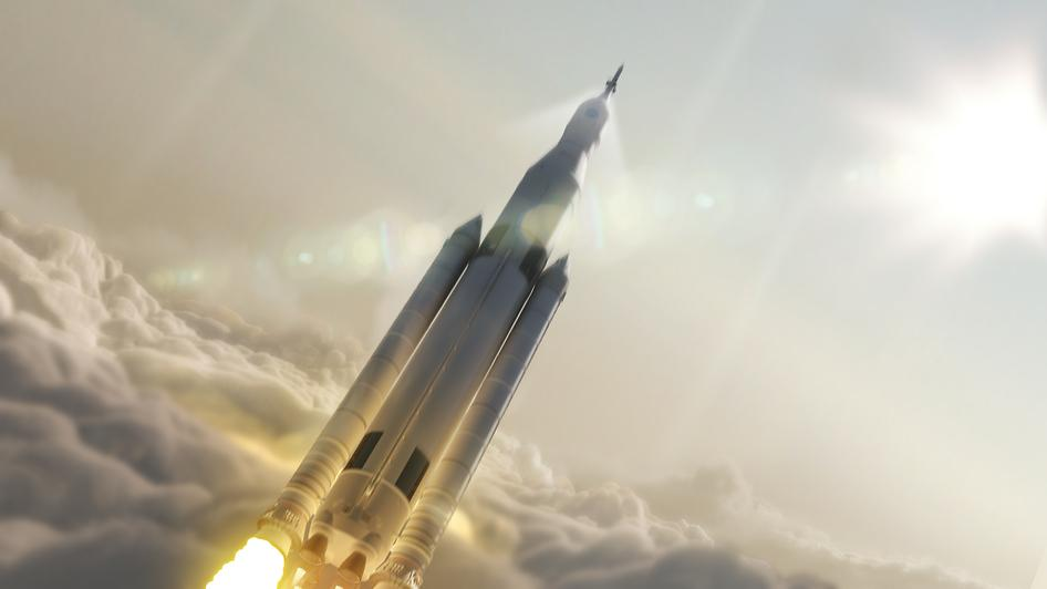 An artistic rendering of NASA's Space Launch System