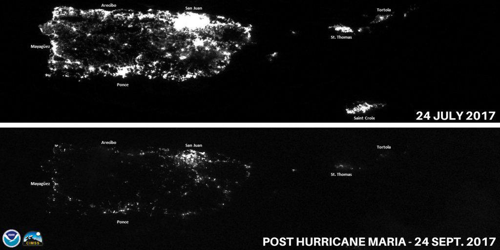 Imágenes satelitales de Puerto Rico por la noche antes y después del huracán María.