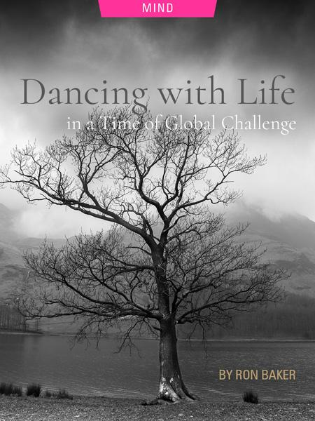 Dancing with Life in a Time of Global Challenge by Ron Baker. Photograph of a leafless tree next to a lake by Jake Colling