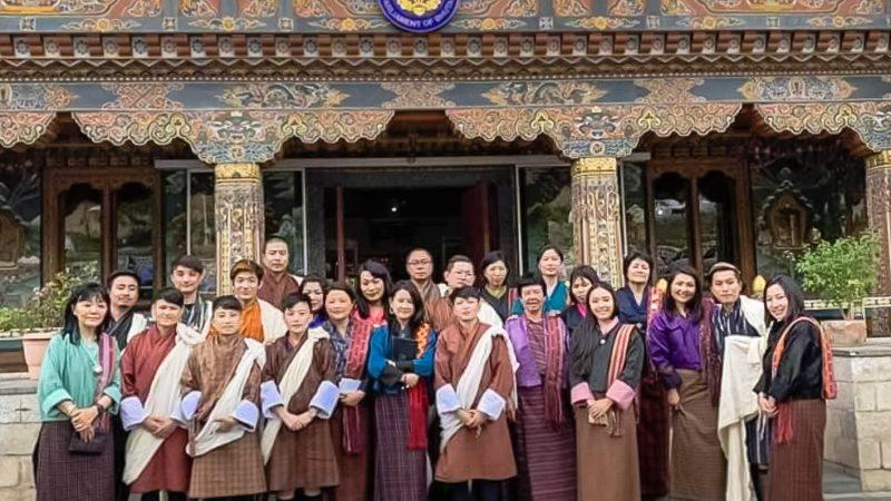 Activists in front of the National Assembly after the historic decision to repeal section 213 and 214 of the Bhutanese Penal Code decriminalizing homosexuality. Image via the Facebook page of Namgay Zam/LGBT Bhutan. Used with permission.