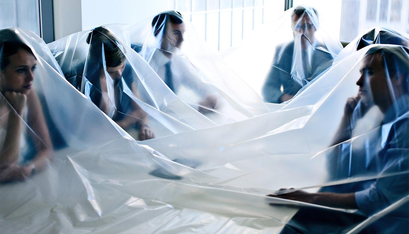at work, under a tarp