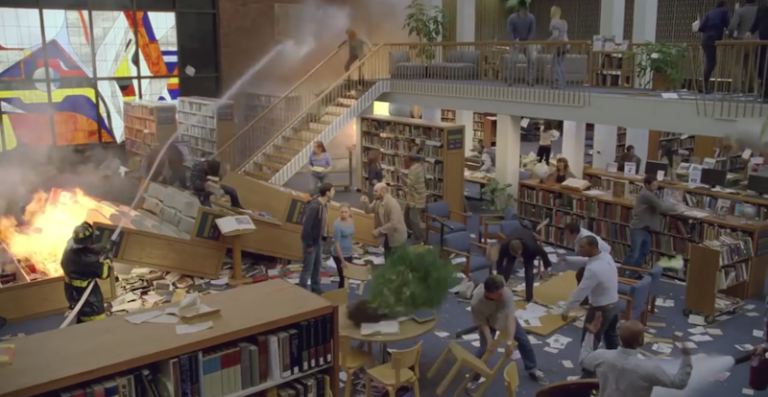 library fight