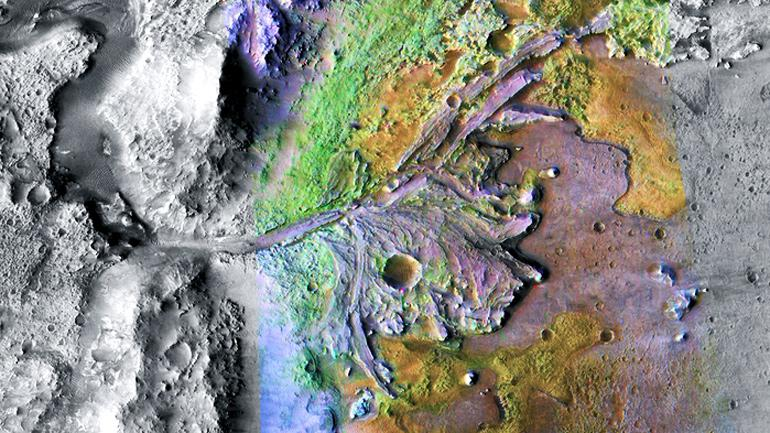 aerial view of Jezero crater