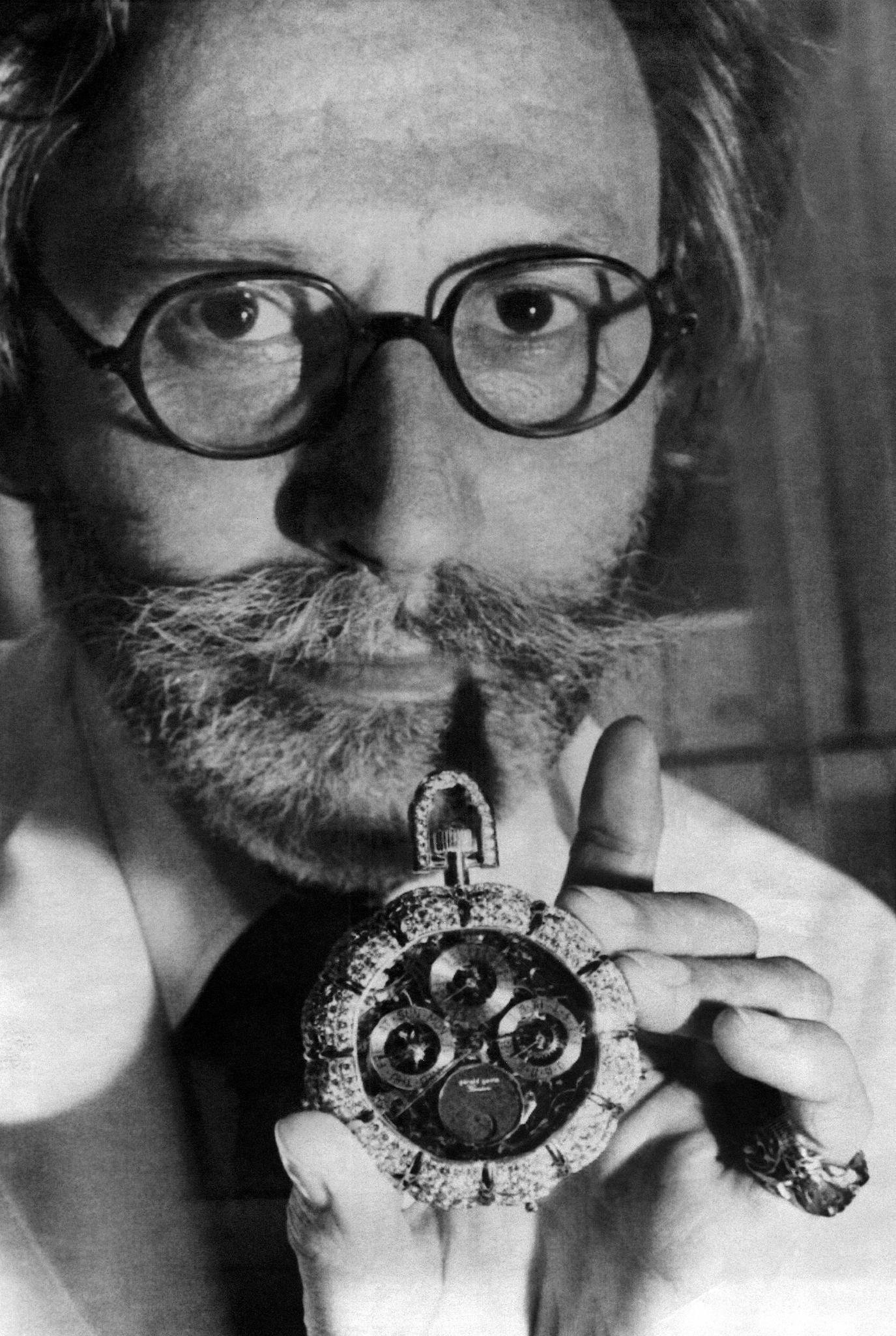 Gerald Genta presents a watch in gold and 30 carat diamonds in Geneva, Switzerland on September 25, 1979.