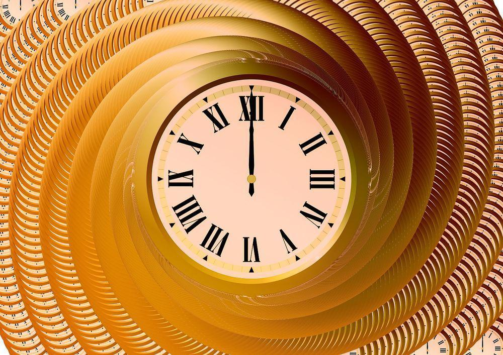 Clock orange spiral