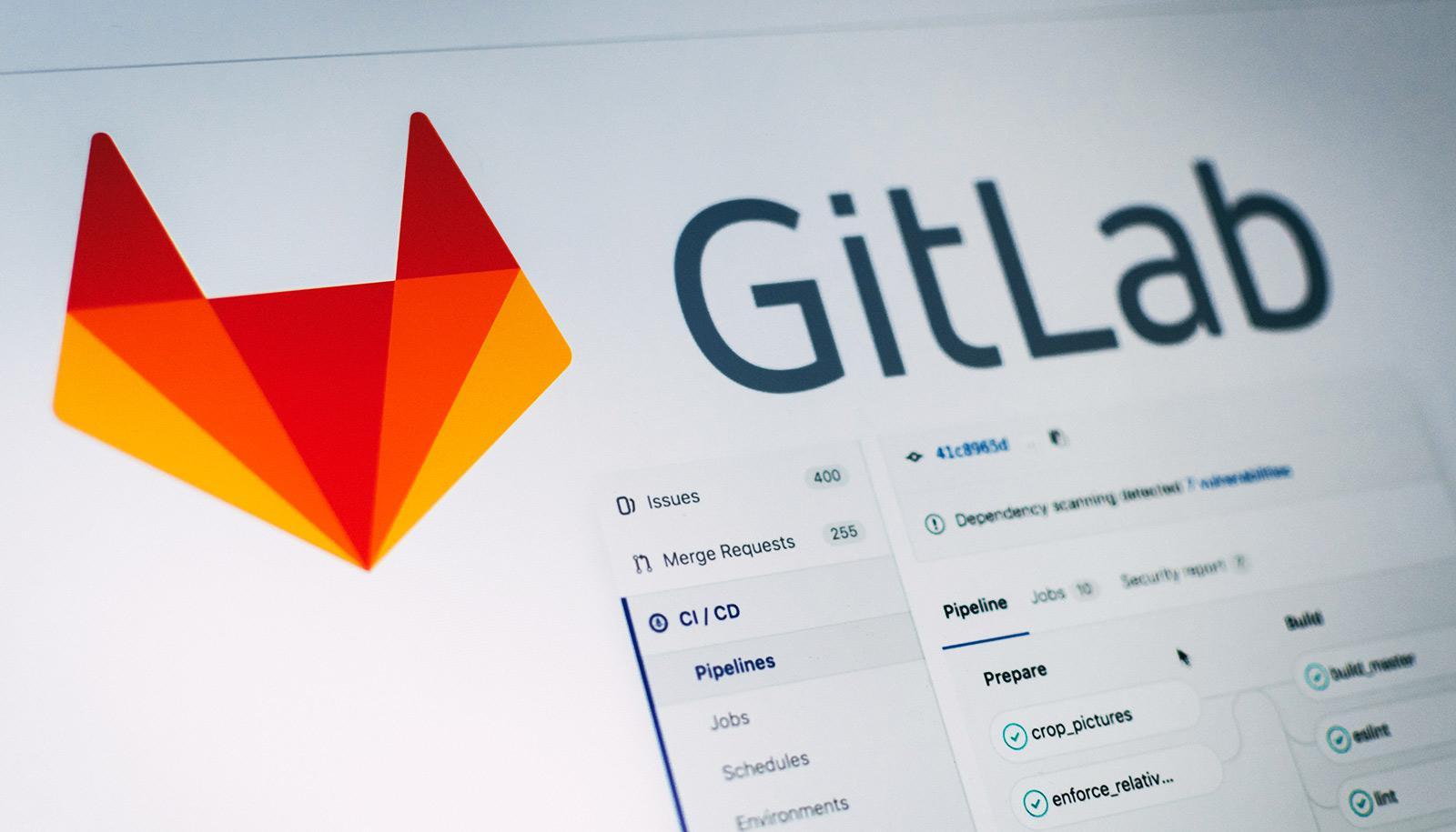 GitLab on screen with fox head logo