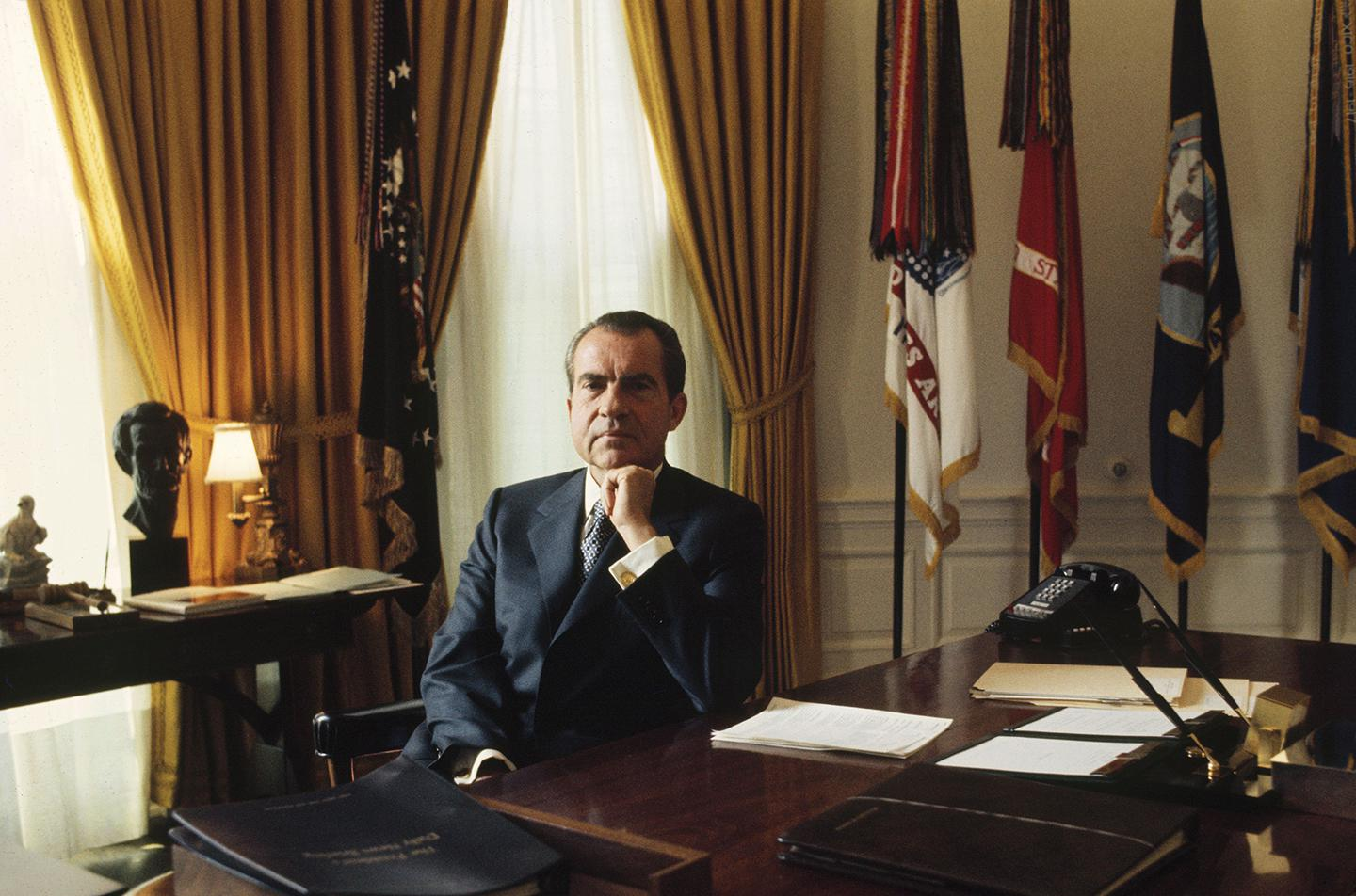 Richard Nixon in the Oval Office of the White House in the 1970s.