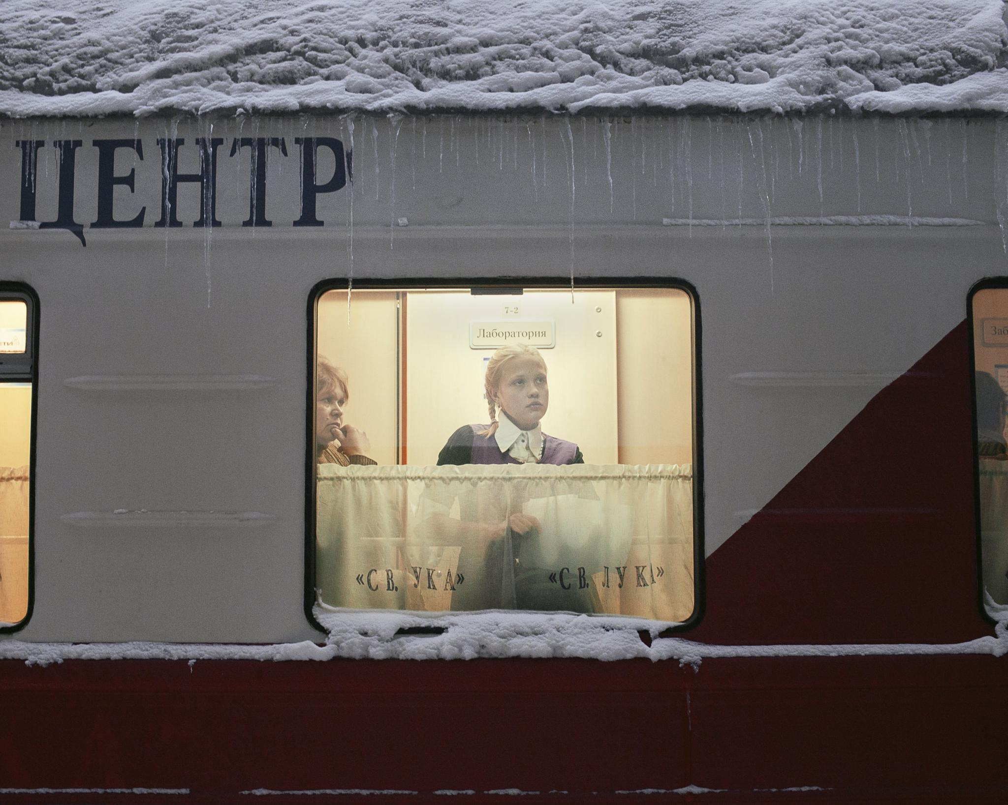 Patients wait for medical treatment and laboratory results on the Saint Lukas medical train, which stopped in the remote town of Kuragino, Russia, on November 13, 2016. The train comes about once a year to each town on its route.