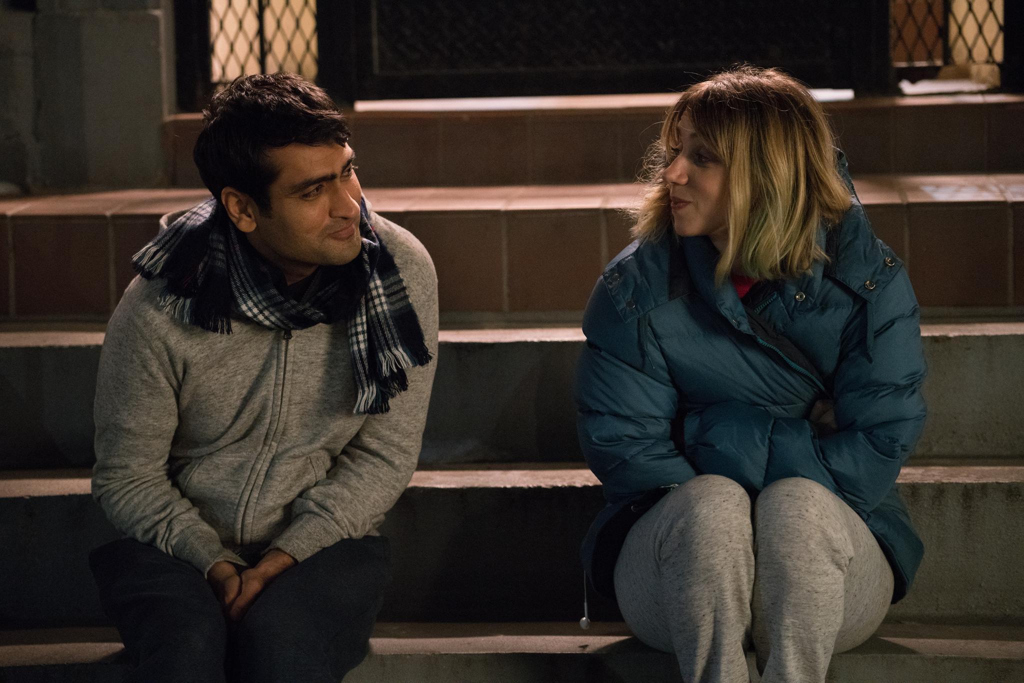 "Kumail Nanjiani plays Kumail and Zoe Kazan plays Emily in ""The Big Sick."""