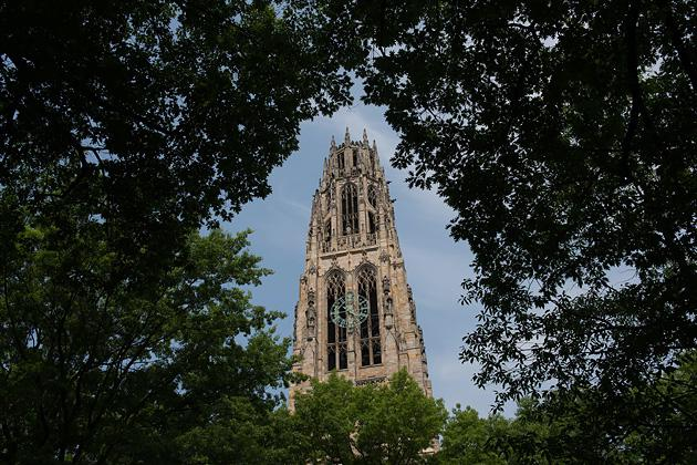 Harkness Tower stands on the Yale University campus in New Haven, Connecticut. (Craig Warga/Bloomberg via Getty Images)