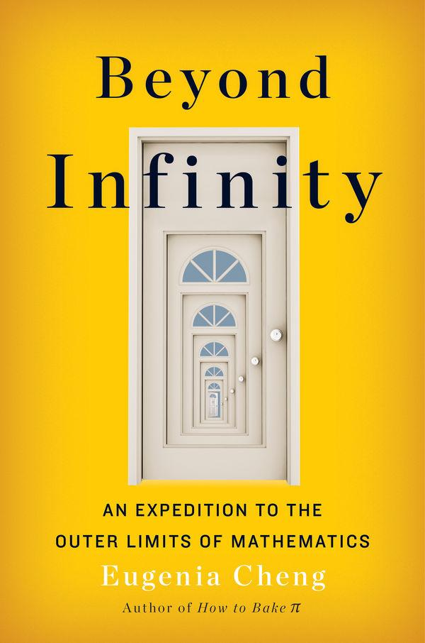 yellow book cover for beyond infinity with seemingly infinite doors