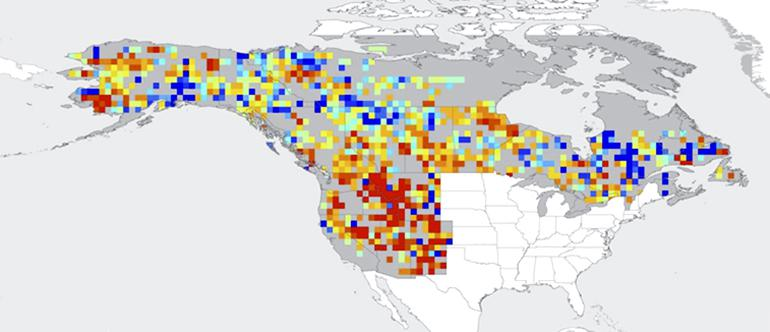 Projected change in annual area burned by wildfires 2010–2039