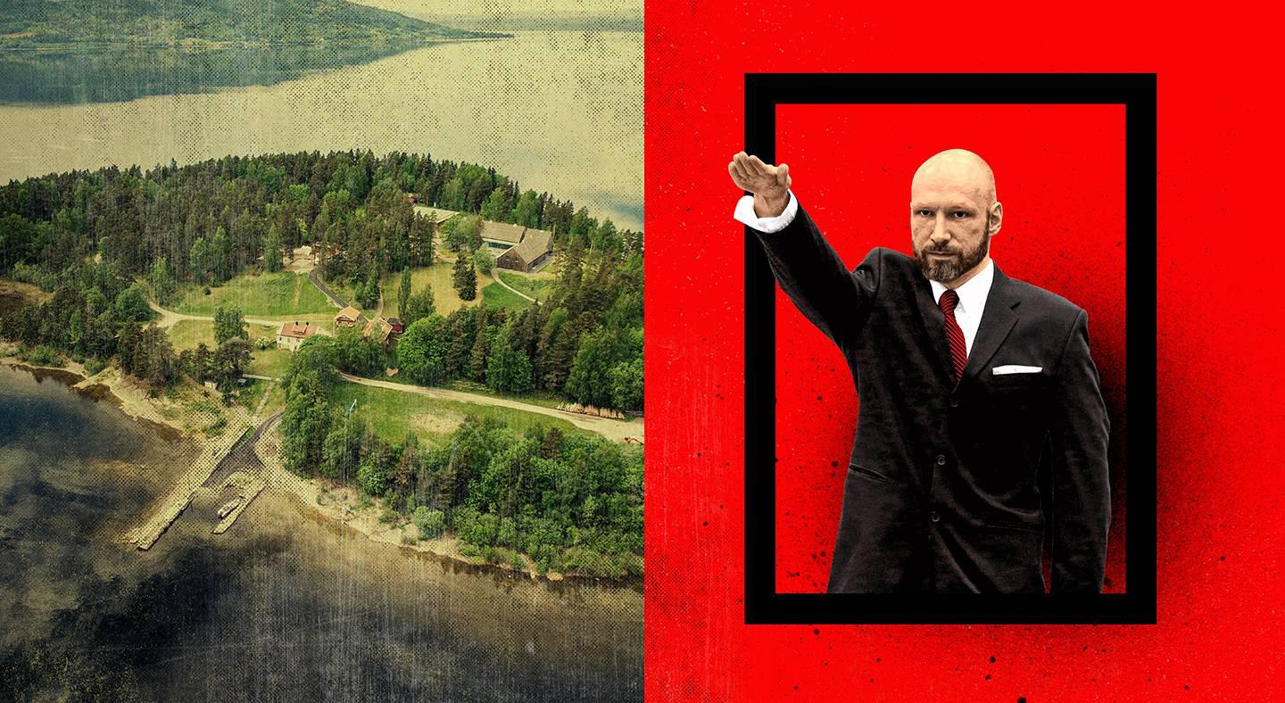 "The island of Utoya, where Breivik, opposite, murdered 69 people in 2011. Breivik was sentenced to 21 years in prison. He delivered a Nazi salute when he returned to court in 2016 to contest solitary confinement as ""inhumane."" The government rejected his claims."