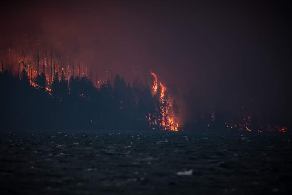 wildfire near a lake