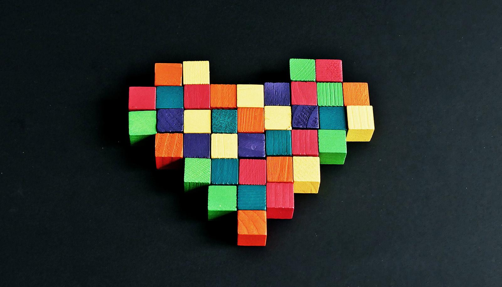heart made of blocks (heart muscle concept)