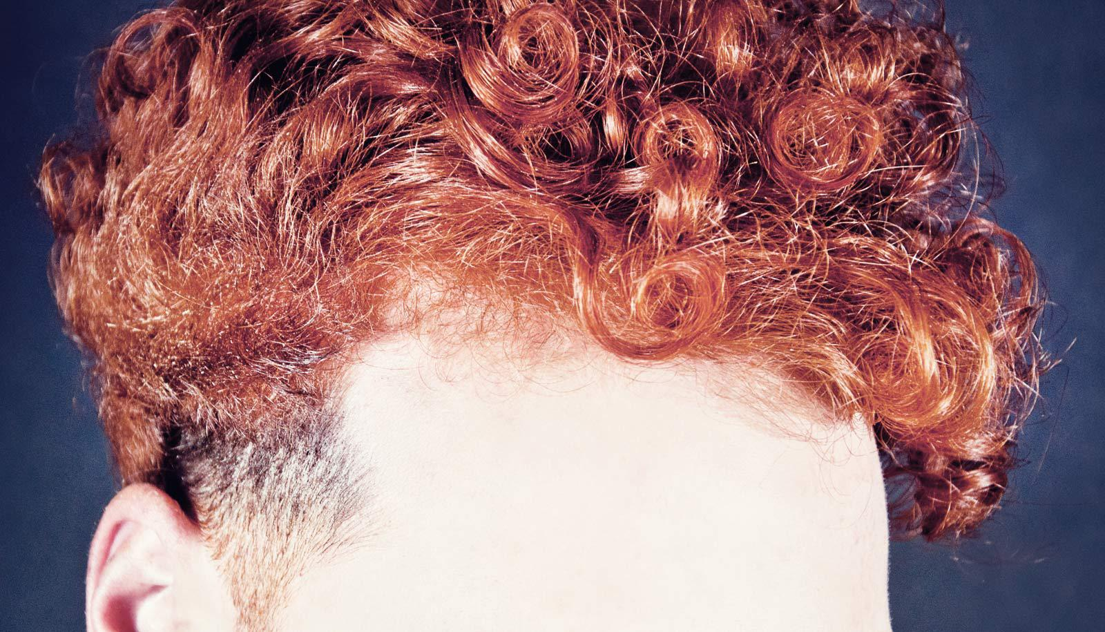curly red hair, forehead