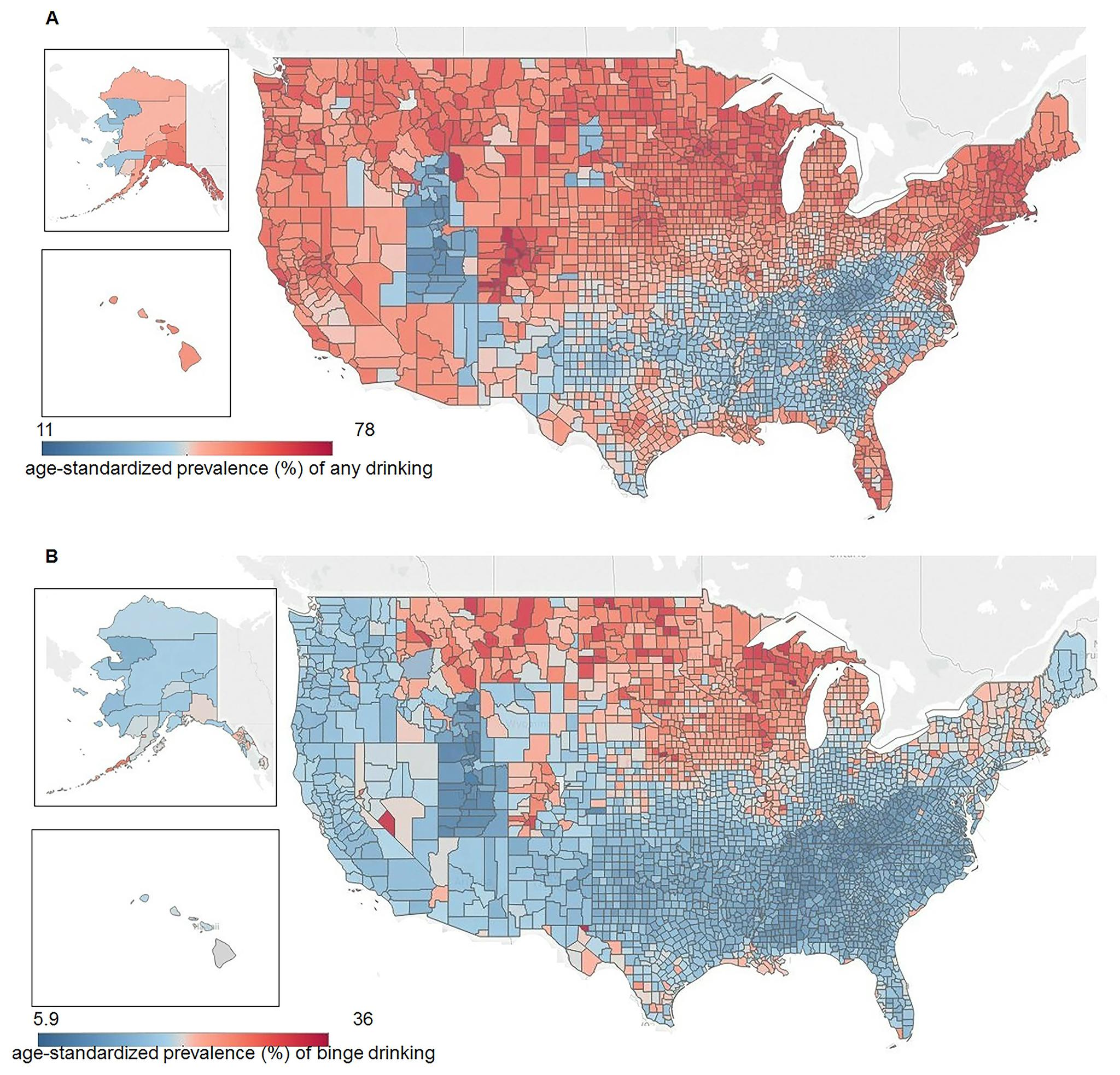 US map of drinking rates