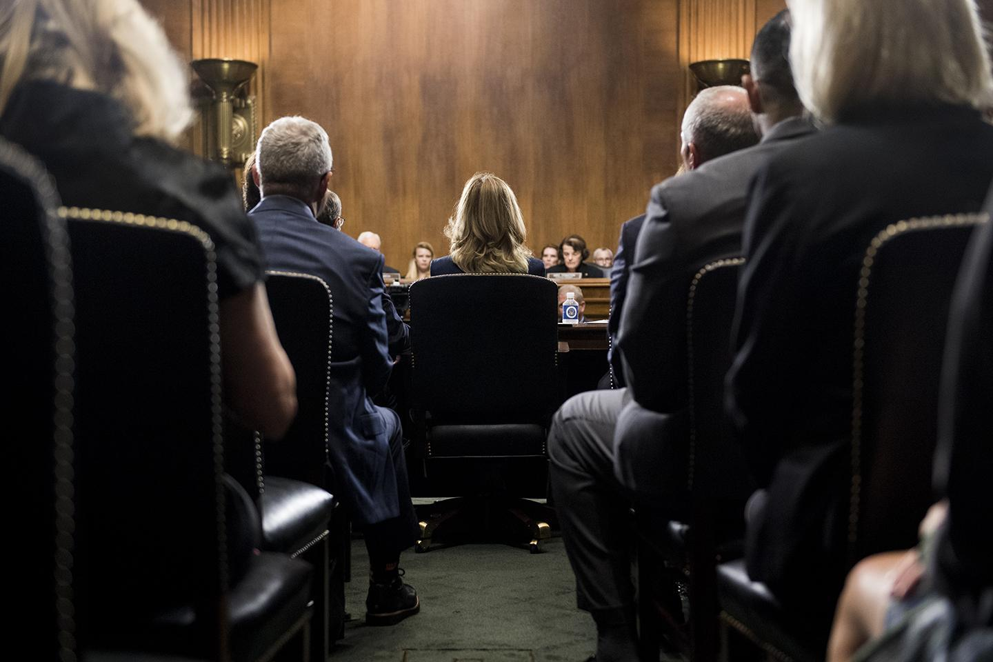 Dr. Christine Blasey Ford prepares to testify on Thursday, Sept. 27, 2018, during the Senate Judiciary Committee hearing on the nomination of Brett M. Kavanaugh to be an associate justice of the Supreme Court of the United States, focusing on allegations of sexual assault by Kavanaugh against Christine Blasey Ford in the early 1980s.